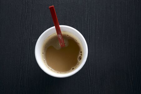 espresso cup: Coffee in a Disposable Cup Stock Photo