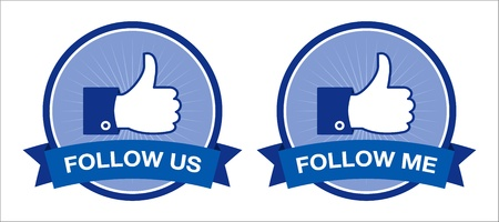 Facebook follow us   follow me buttons - retro