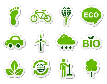 eco car: Green eco icons set Illustration