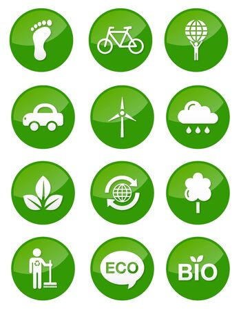 Green eco icons set - glossy buttons Stock Vector - 13593162