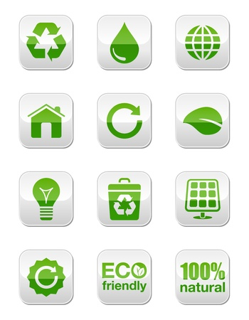 cleaning earth: Green eco icons set - square buttons