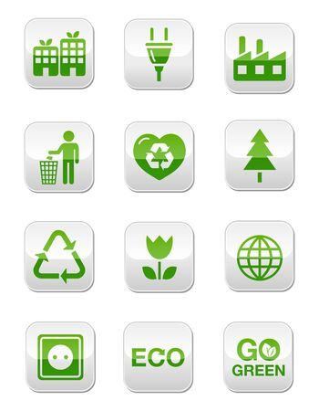 Green eco icons set - square buttons Stock Vector - 13593160