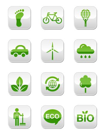 Green eco icons set - square buttons
