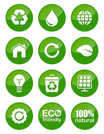 clean energy: Green eco icons set - glossy buttons