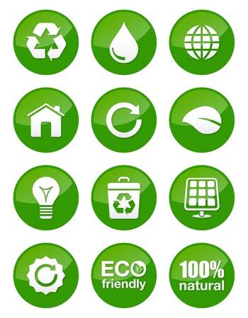 Green iconos eco Set - brillante