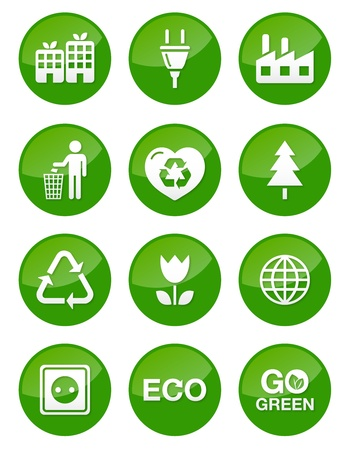 Green eco icons set - glossy buttons Stock Vector - 13593165