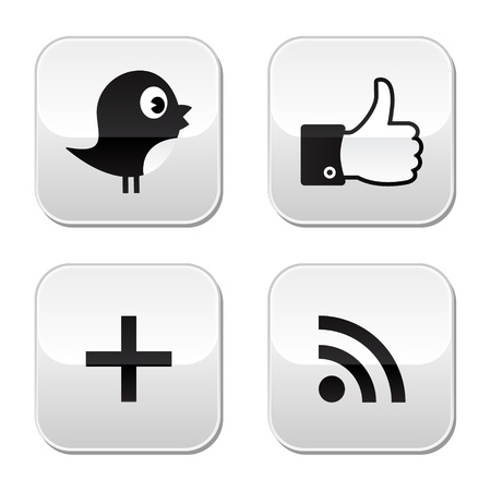 tweet icon: Sociales botones de papel satinado establece Vectores
