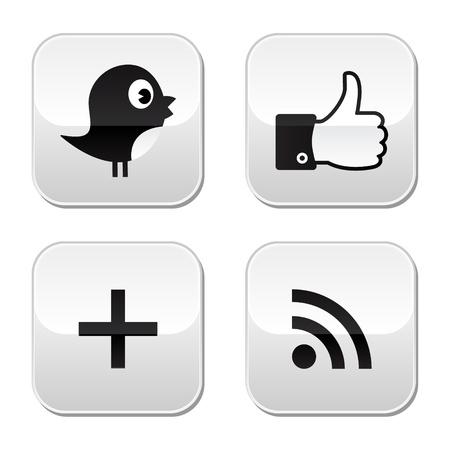 bouton ajouter: Sociaux boutons papier glac� mis en