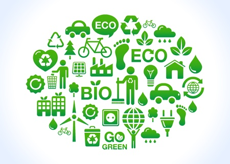 Eco friendly world - green icons Vector