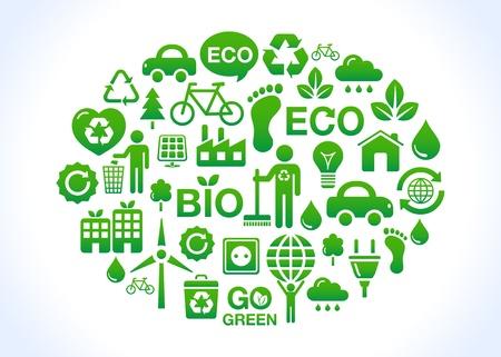 Eco-vriendelijke wereld - groene pictogrammen Vector Illustratie