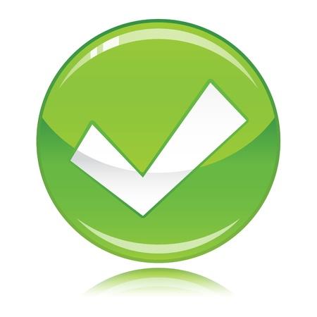 Green glossy check mark button Vector