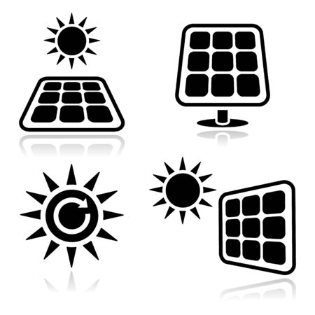 Solar panels icons Stock Vector - 13768227
