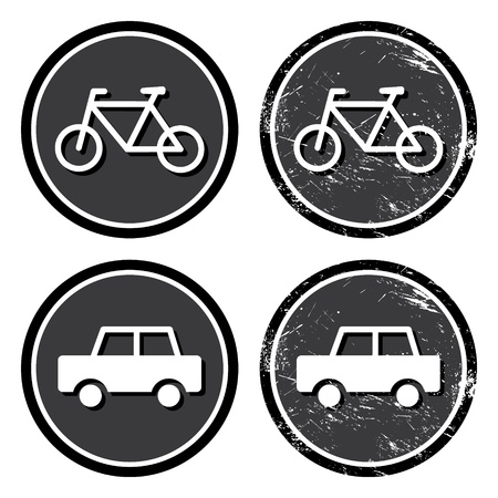 Bike and car retro label Vector