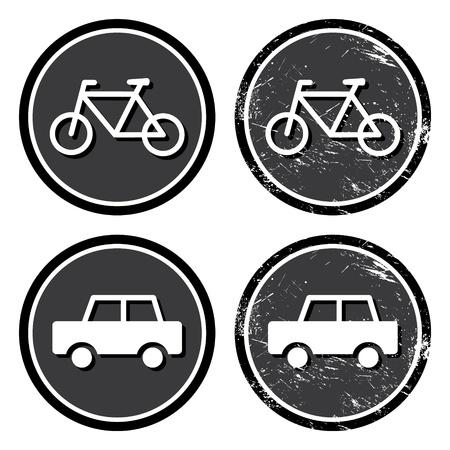 Bike and car retro label Vector