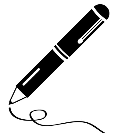 Writing pen clean black icon