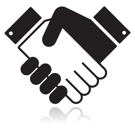 dandose la mano: Apret�n de manos icono negro brillante