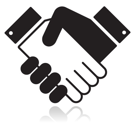 agreement shaking hands: Handshake glossy black icon