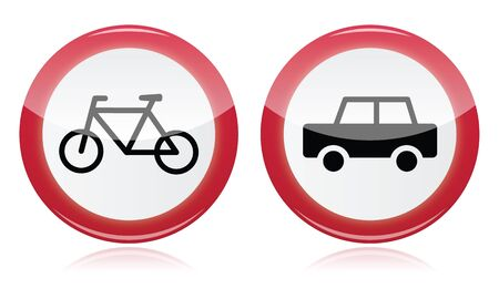 ar: Car and bike icons road signs