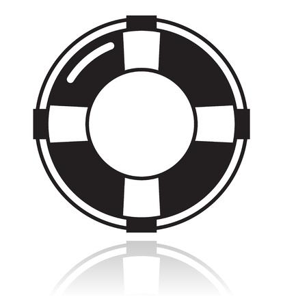 Ayuda - icono negro de cinturón de vida