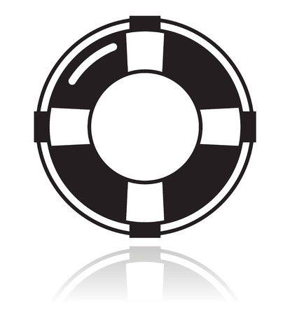 rescue circle: Help - life belt black icon Illustration