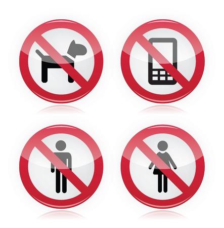 no entry sign: No dogs, No mobile phones, No men, No women warning sign - road sign.