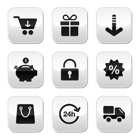 cuenta bancaria: Botones de compras para la tienda web en l�nea Vectores