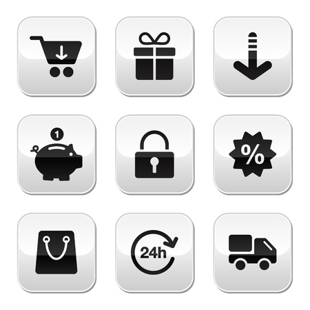 sales bank: Shopping buttons for website   online store