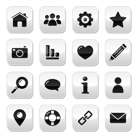 article icon: Website menu navigation buttons - home, search, email, gallery, help, blog icons Illustration