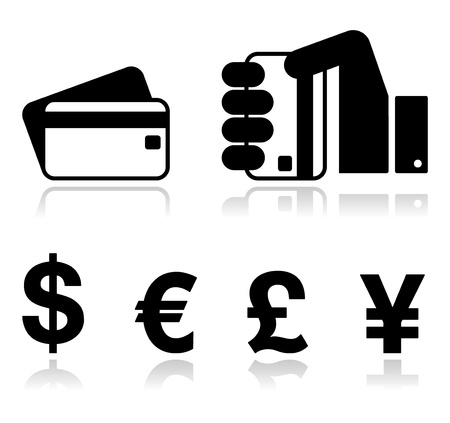 yen: Payment methods icons set - credit card, by cash - currency  Illustration