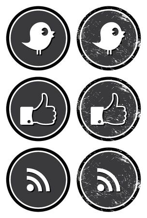 bird icon: Social media retro labels