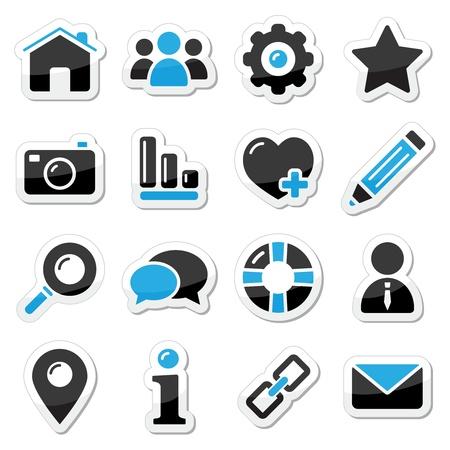 contact icon: Web-en internet-knoppen instellen Stock Illustratie