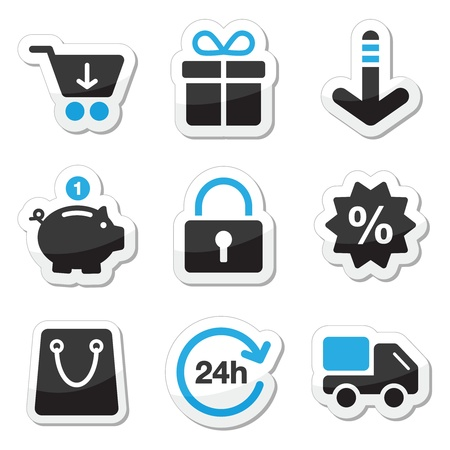 sales bank: Web   internet icons set - shopping