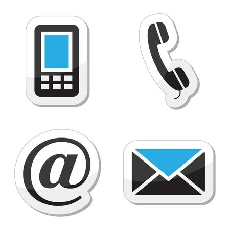 phone button: Neem contact op met te stellen web en internet iconen Stock Illustratie