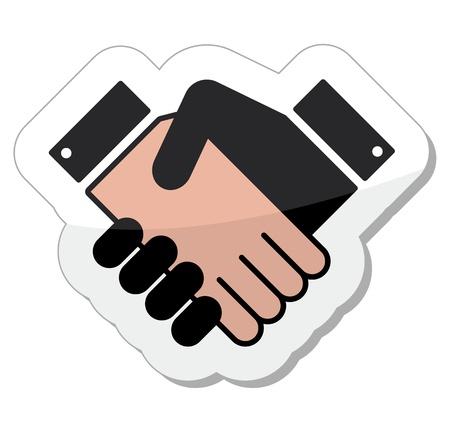 Agreement handshake icon - label