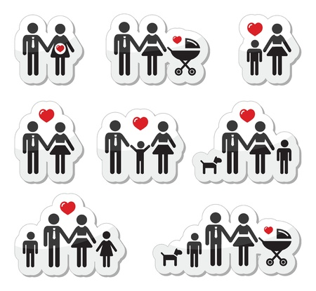baby stickers: People icons - family, baby, pregnant woman, couples Illustration