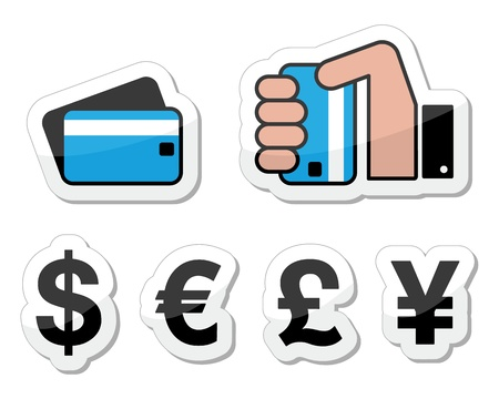 Shopping, payment methods, currency icons Vector