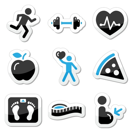 Health and fitness icons set Vector