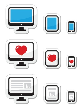 Computer screen, tablet, and smartphone icons Vector