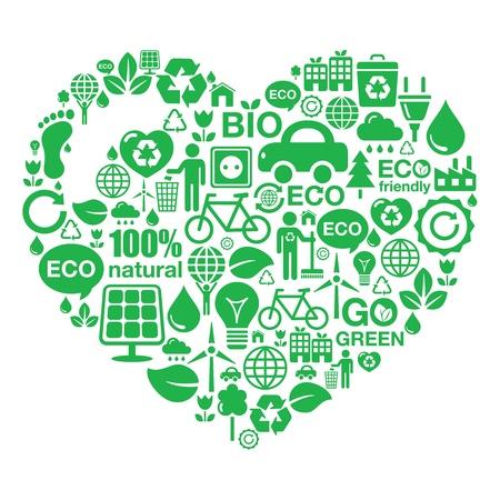 �cologie: Fond de coeur Eco - vert �cologie Illustration