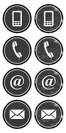 vintage telefoon: Neem contact op met web-en internet-set retro iconen