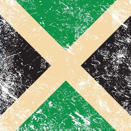 jamaican flag: Jamaica retro flag Illustration
