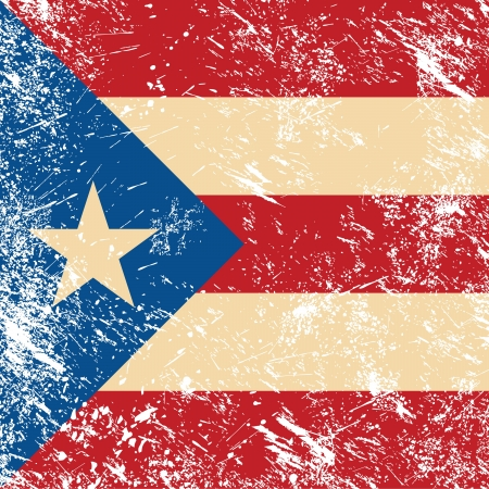 bandera de puerto rico: Puertro Rico retro bandera Vectores