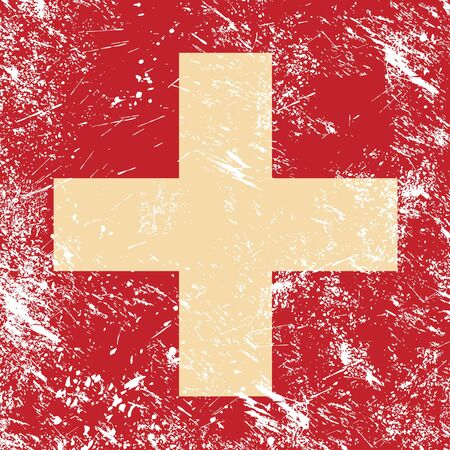 Switzerland retro flag Vector
