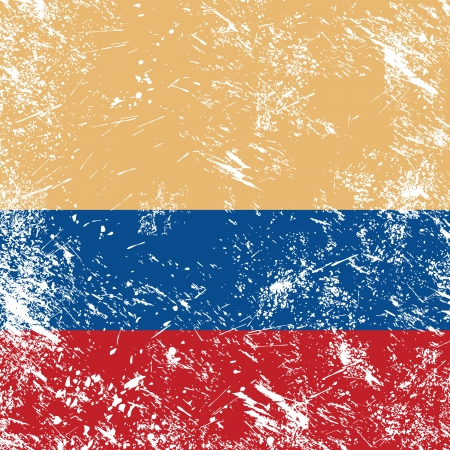 Colombia retro flag Vector