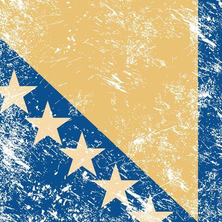 Bosnia and Hercegovina retro flag Vector