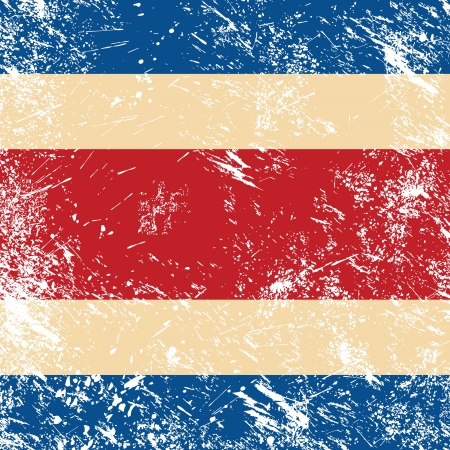 Costa Rica retro flag Vector