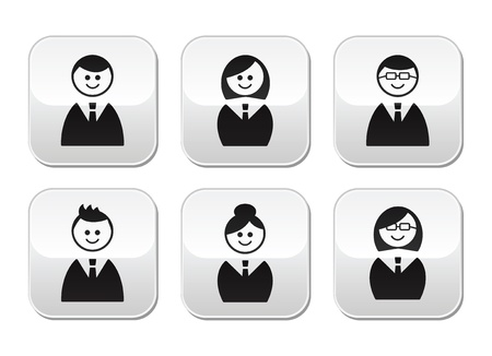 Users icons - glossy buttons set Vector