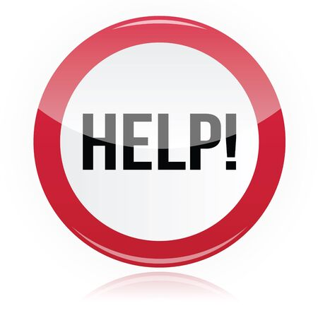 Help - problem glossy red sign Stock Vector - 14712700