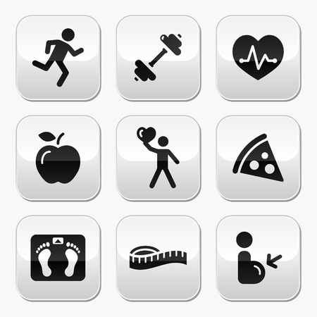 keep: Keep fit and healthy icons on glossy buttons