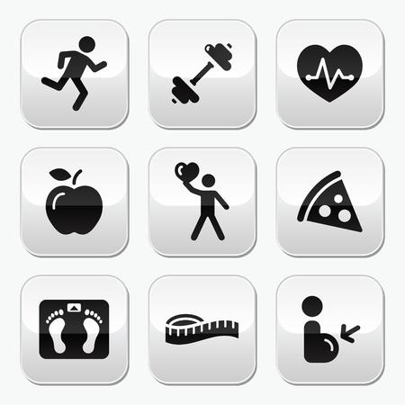 Manténgase en forma y saludable iconos en los botones brillantes Ilustración de vector